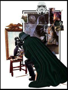 Darth Vader self portrait (Norman Rockwell's triple self portrait revised) - DarkJediKnight