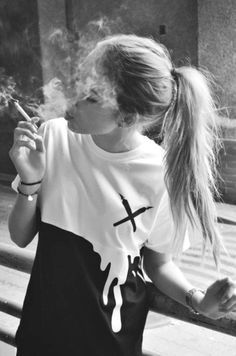 top black and white t-shirt shirt dripping white black grunge alternative cool shirts cool girl style smoke People Smoking, Smoking Ladies, Girl Smoking, Smoking Weed, Fume Cigarette, Cigarette Girl, B&w Tumblr, Tumblr Girls, Smoke Photography