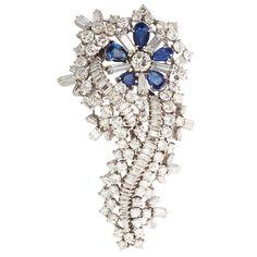 Fine Diamond and Sapphire Brooch http://www.1stdibs.com/