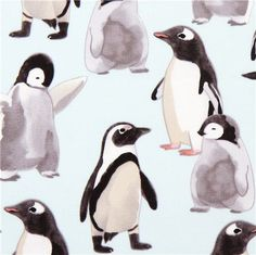 light blue Michael Miller fabric with penguins