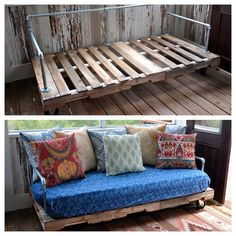 Pallet couch! I like the metal pipe for the arms. A good solution that keeps the minimalist look. Just add some bolsters and instant comfort!