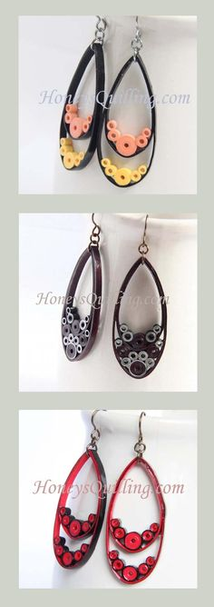 Paper quilled teardrop earrings in many styles - by Honey's Quilling