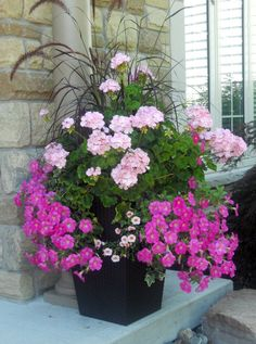 31 Pretty Front Door Flower Pots For A Good First Impression – Planters – Ideas … - Bepflanzung Container Flowers, Flower Planters, Garden Planters, Ideas For Planters, Full Sun Planters, Geranium Planters, Full Sun Container Plants, Potted Plants Patio, Large Flower Pots
