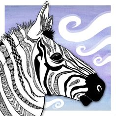 Items similar to Patterned Zebra illustration digital print ). on Etsy Zentangle Drawings, Abstract Drawings, Art Drawings, Zentangles, Square 1 Art, Zebra Illustration, Zebra Art, 8th Grade Art, Tangle Art