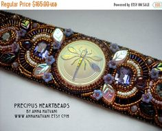 SUMMER SALE 15 % OFF Bead Embroidery Bracelet Cuff Dragonfly Purple Mauve Aubergine Gold bead embroidered - fashion - Ooak