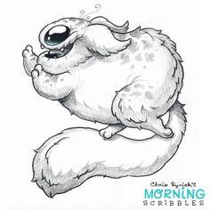 Chris Ryniak - morning scribbles - cute and funny art Cute Monsters Drawings, Cartoon Monsters, 3d Drawings, Little Monsters, Cartoon Drawings, Animal Drawings, Cartoon Art, Drawing Sketches, Tattoos Familie