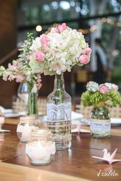 Centros de Mesa Bodas / Wedding Centerpieces, DIY / Photography by: Diana…