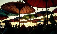 Under umbrella!!