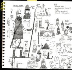 Goliath sketchbook page by tom gauld, via Flickr
