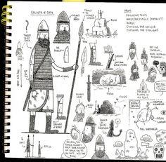 Goliath sketchbook page by tom gauld, via Flickr