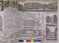 View of Lord Burlington's gardens at Chiswick, by John Rocque, 1736. The gardens were designed by the architect William Kent, and are an early example of the English landscape garden.