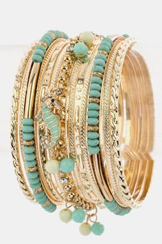 Beaded Bangle Bracelets Set  - $21