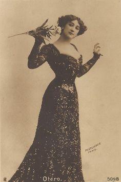 La Belle Otero, Belle Epoque Famous Spanish Parisian Courtesan in Dramatic Long Black Sequins Dress, Original Rare 1900s Reutlinger Postcard