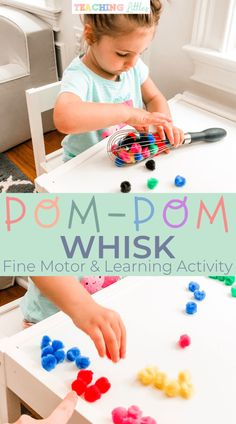 This pompom whisk toddler activity works on skills including fine motor, learning, and sensory. Using multicolored poms help to learn colors and count. - PomPom Whisk: A Toddler Fine Motor and Learning Activity - Teaching Littles Toddler Fine Motor Activities, Motor Skills Activities, Preschool Learning Activities, Infant Activities, Fine Motor Activity, Learning Activities For Toddlers, Teaching Toddlers Colors, Preschool Fine Motor Skills, Physical Activities