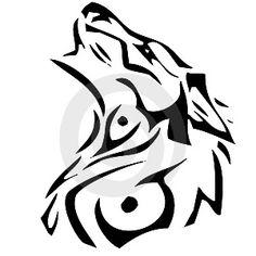 Cool Wolf Tattoo Stencil