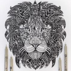 Zentangle Lion By @vvvenla_art _ @arts__gallery by arts.gallery