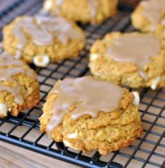 Chewy Pumpkin Oatmeal Cookies with White Chocolate Morsels and Maple Glaze..jpg