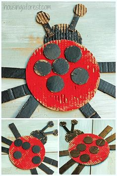 Simple Cardboard Ladybug Craft from housing a forest Home Crafts, Fun Crafts, Crafts For Kids, Craft Activities For Kids, Preschool Crafts, Insect Crafts, Ladybug Crafts, Creative Arts And Crafts, Letter A Crafts