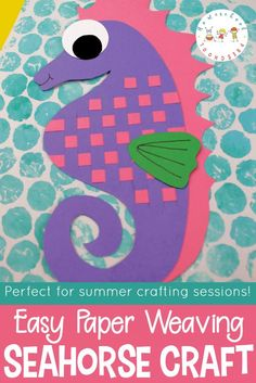 Inspired by the ocean and perfect for summer! Kids can make this adorable seahorse art project with colored paper and bubble wrap. Perfect to do alongside Mr. Seahorse by Eric Carle. Seahorse Crafts, Ocean Animal Crafts, Seahorse Art, Sea Crafts, Seahorses, Preschool Arts And Crafts, Diy Arts And Crafts, Paper Weaving, Weaving Art