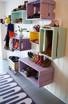I love this idea... not sure if I have the wall space in entry way, but could use as storage in kids rooms or office