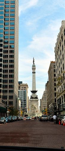 Downtown Indianapolis with Soldiers and sailors Monument in the background. INDIANA