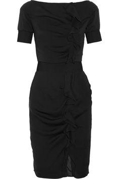 Azzaro|Ruffle-front silk dress|NET-A-PORTER.COM