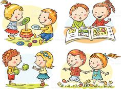 Illustration of Set of four cartoon illustrations with kids' communication and common activities, no gradients vector art, clipart and stock vectors. Art Drawings For Kids, Drawing For Kids, Cute Drawings, Art For Kids, Preschool Art, Preschool Activities, Daily Activities, Cute Illustration, Cartoon Illustrations