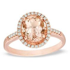 Oval Morganite and 1/5 CT. T.W. Diamond Ring in 10K Rose Gold