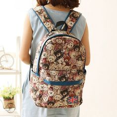 <3 Cute Teddy Bear Printed Long Strapped Backpack <3