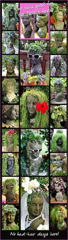 Believe it or not this is all the same female planter head - just different plants and 2 different finishes Moss and Stone - Shades do vary (Diy Garden Stones) Face Planters, Garden Planters, Succulents Garden, Planters Flowers, Garden Crafts, Garden Projects, Container Plants, Container Gardening, Garden Whimsy