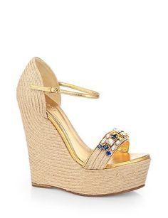 GUCCI Jeweled Espadrille Wedge Sandals
