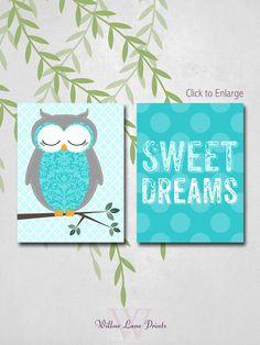 Turquoise Owl Nursery Print Baby Boys Nursery by WillowLanePrints, $30.00