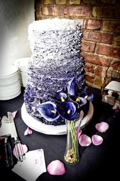 Eggplant & Silver - Cake by Kendra's Country Bakery