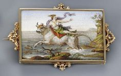 ITALIAN MICROMOSAIC PLAQUE Rome, circa 1820 Rectangular plaque depicting the Rape of Europa, within a plain gold brooch frame with pierced and scrolling gold outer projections the micromosaic 2 7/8 in. (72 mm.) wide