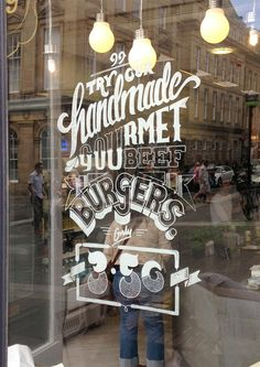 Best window illustration lettering hand typography images on designspiratio Typography Served, Typography Images, Typography Design, Hand Typography, Window Signs, Window Art, Window Decals, Cafe Window, Display Window