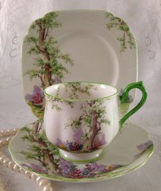"Royal Albert China Trio Tea Cup, Saucer and Plate ""Greenwood Tree"" Pattern Teacup Tea Cup Set, My Cup Of Tea, Tea Cup Saucer, Tea Sets, Antique Dishes, Vintage Dishes, Vintage Teacups, Royal Albert, Cuppa Tea"