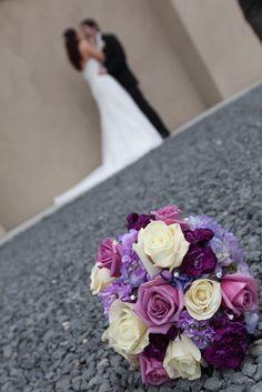 Clarks Landing, NJ #BridalBouquet #purple #flowers @Lauren Johnson NJ Wedding Photography.  Photography by Something Blue Wedding Photography  www.SomethingBlueWeddingPhotography