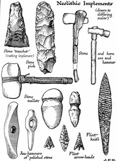 The Stone Age marks the first appearance of the beasts known as humans and gets its name because these creatures used stone tools. Scientists have divided the period into three distinct phases: Paleolithic, Mesolithic and Neolithic. Stone Age Tools, Stone Age Art, Native American Tools, Native American Artifacts, Indian Artifacts, Ancient Artifacts, 6th Grade Social Studies, Early Humans, Iron Age