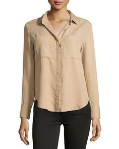 Velvet Heart Patch-Pocket High-Low Blouse, Latte New offer @@@ Price :$98 Price Sale $69