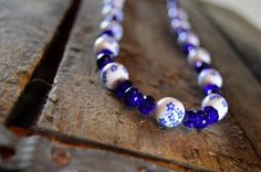 Cobalt Flower Necklace by AmarisJewelry on Etsy
