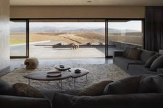 The living area in the Tagadert villa, which was designed to maximize views of the surrounding mountain vistas.