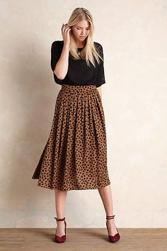 Anthropologie EU Cannella Pleated Midi Skirt.