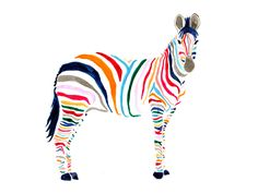 """colorful """"Zebra"""" by Britt Browne sold at Stampa (Limited edition affordable art prints) (stampa.us.com)"""