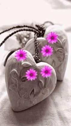 Heart shaped rocks with detailed carving with a bright, pink, pop of color flowers I Love Heart, Happy Heart, My Heart, My Love, Heart Wallpaper, Love Wallpaper, Allah Wallpaper, Screen Wallpaper, Color Splash