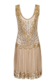 Details about GOLD NUDE SEQUIN CHARLESTON FLAPPER uk 10 14 GATSBY dress  20 s ART DECO 9843ea7da