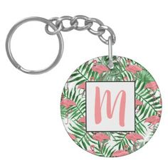 Custom Monogram Cute Pink Flamingo Watercolor Keychain - girly gifts special unique gift idea custom
