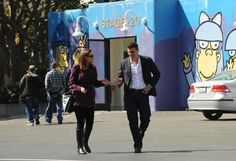 "Booth (David Boreanaz) & Brennan (Emily Deschanel) in the ""The Suit On The Set"" episode of BONES."