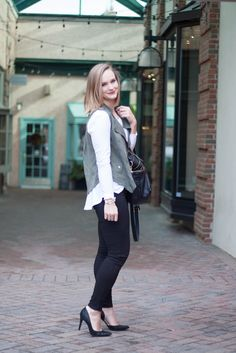 Army Green & Pointed Pumps #fashion
