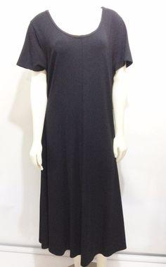 J. Jill Black Short-Sleeve Scoop Neck Mid-Calf Dress XL #JJill #ALine #Versatile