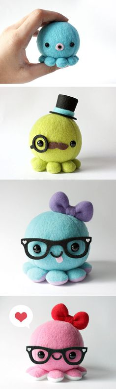Not tutorial. I'd love to know how to make these beautiful and super cute felt octopusses #plushies Cute!!!!!!!!!!!